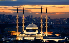 Night Kocatepe Mosque Ankara