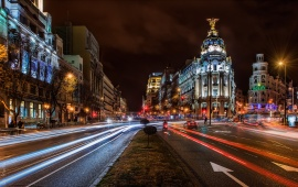 Night Madrid City Spain