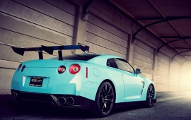 Nissan GTR Wrapped In Light Blue