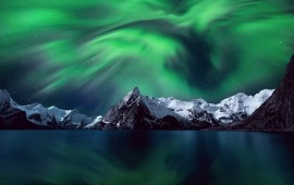 Northern Lights Mountains Snow