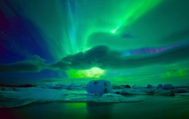 Northern Night Lights Sky And Ice Floe