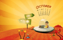 October Cartoon Calendar