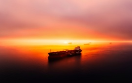 Oil Tanker at Sunset
