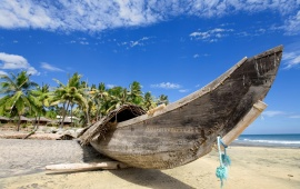 Old Boat on Exotic Beach