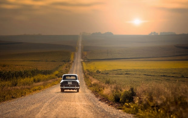 Old Car On Empty Road (click to view)
