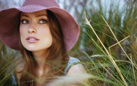 Olivia Wilde With Pink Hat
