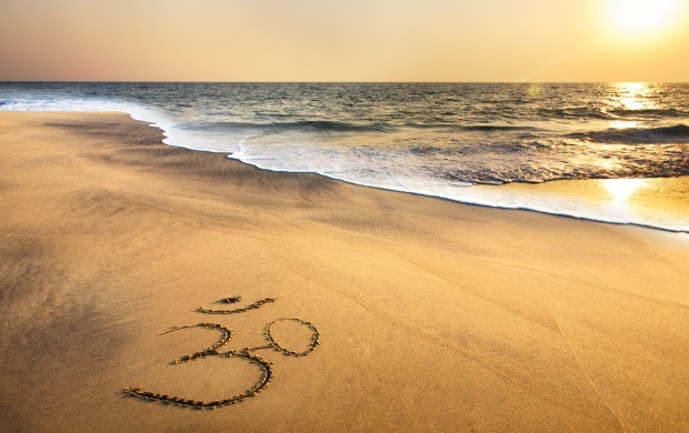 Om Symbol At Beach Sand Ocean (click to view)