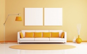 Orange Room Sofa And Pillows
