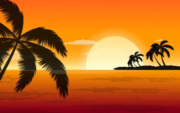 Orange Sunset Drawing (click to view)