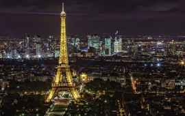 Panorama Eiffel Tower Lights Paris