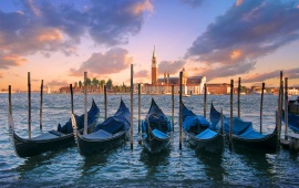 Parked Gondolas in Venice