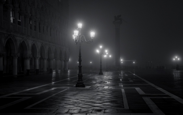 Piazza San Marco Night Fog Venice Italy (click to view)