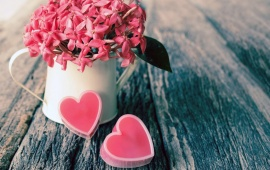 Pink Hearts Love Vase Flowers