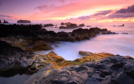 Pink Sunset On Rocky Shore