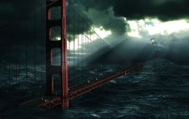 Post Apocalypse Art - Golden Gate Bridge