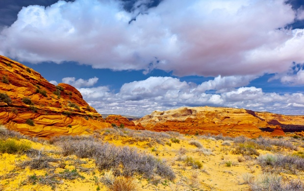 Puffy Clouds Above A Rocky Desert (click to view)