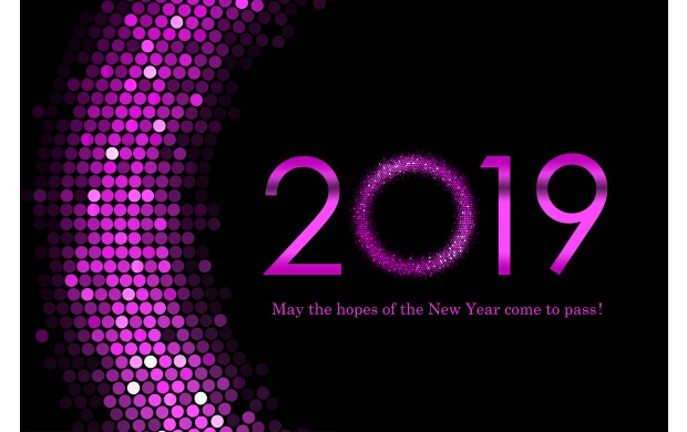 Purple Happy New Year 2019 Wallpapers