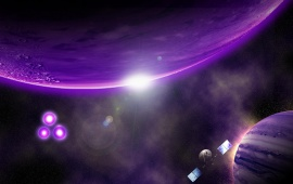 Purple Planets In Space