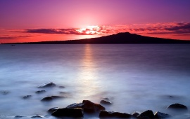 Purple Sunset Above the Water
