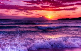 Purple Sunset On The Beach