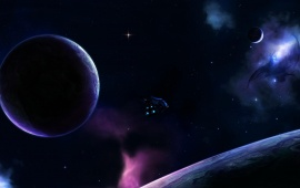Purple Universe And Planet