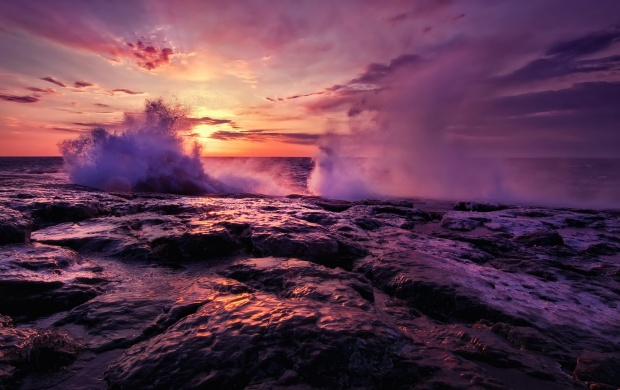 Purple Waves At Sunset (click to view)