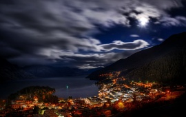 Queenstown City Night Landscape New Zeland