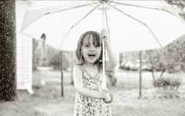 Rain Baby With White Umbrella