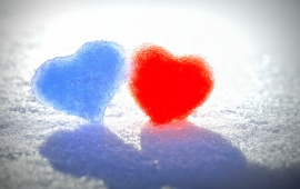 Red And Blue Snow Heart