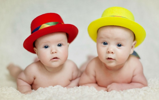 Red And Yellow Hat In Two Babies (click to view)