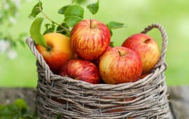 Red Apple In Wooden Basket