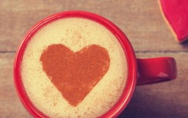 Red Cappuccino Love Heart