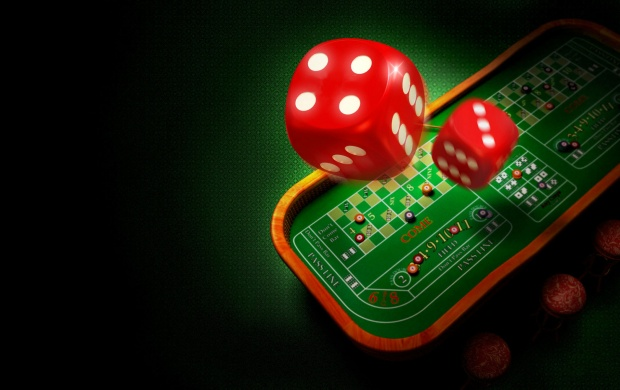 Red Dice And A Roulette Table (click to view)
