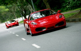 Red Ferrari F430 On The Road In Singapore
