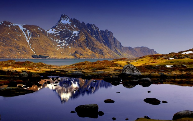 Reflection In Water Mountains And Blue (click to view)