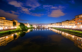 River Arno Night Florence Italy