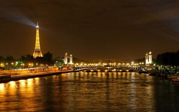 Rivers Paris Night Eiffel Tower Wallpapers