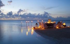 Romantic Candle Light Dinner At Beach