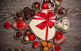Romantic Chocolate Hearts And Sweet Gift