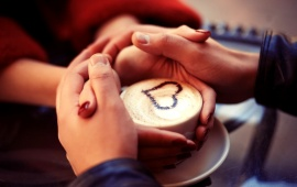Romantic Hands And Love Cappuccino