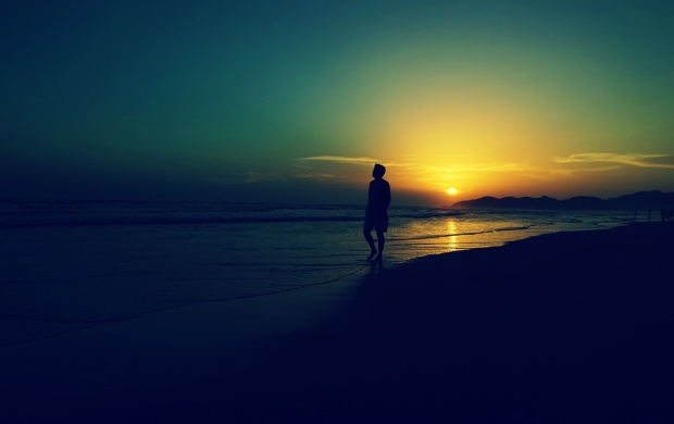 sad alone man at sunset beach waves wallpapers