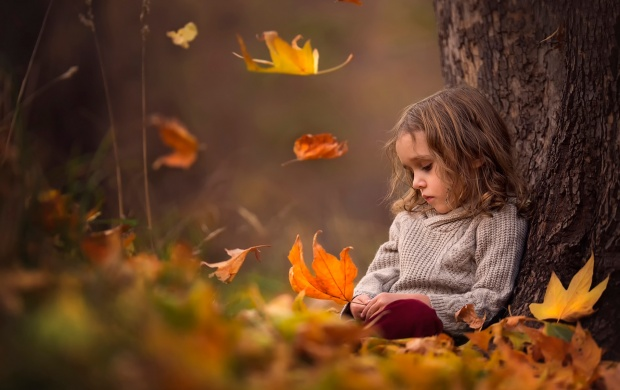Sad Girl Autumn Leaves (click to view)