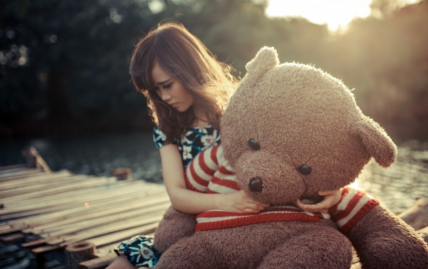 sad girl hug teddy bear wallpapers