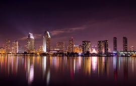 San Diego California Night Skyscrapers