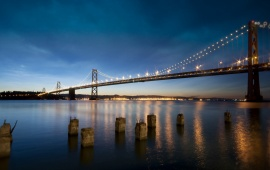 San Francisco Bay Bridge Sky Night California