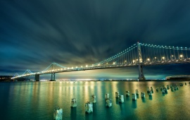 San Francisco Night Bridge Lights