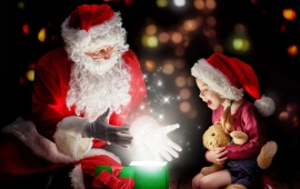 Santa Claus Gift Magic And Baby