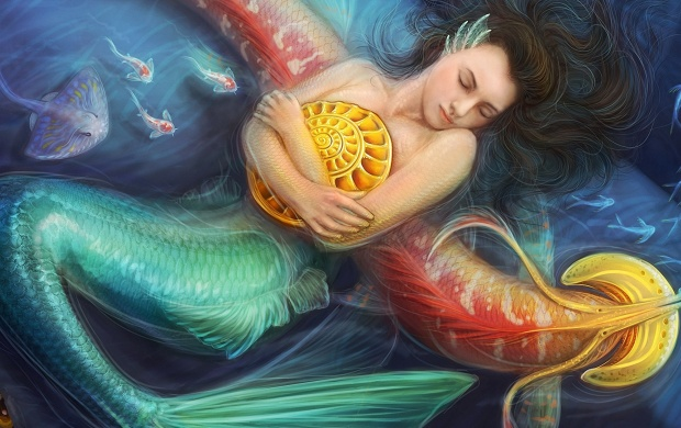 Sea Mermaid With Conch Art (click to view)