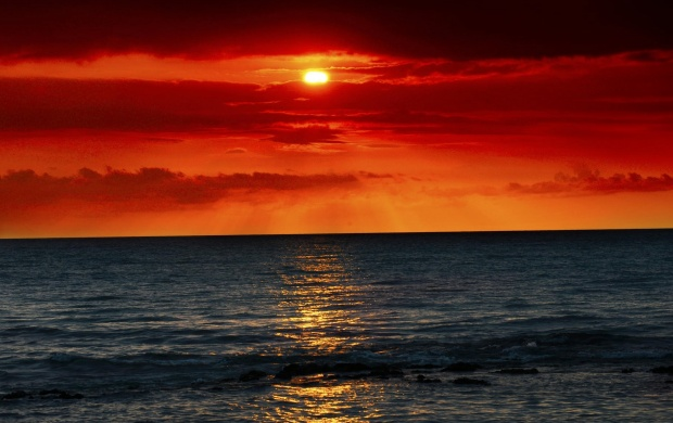 Sea Waves And Red Sunset (click to view)
