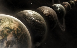 Seven Planet In Space